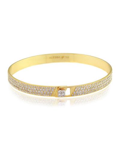 Spectrum 18k Yellow Gold Bangle w/ Pave Diamonds, Size 17