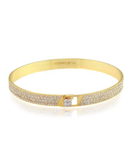 Alessa Jewelry Spectrum 18k Yellow Gold Bangle w/ Pave Diamonds, Size 17