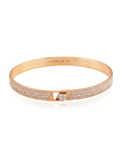Spectrum 18k Rose Gold Bangle w/ Pave Diamonds, Size 17