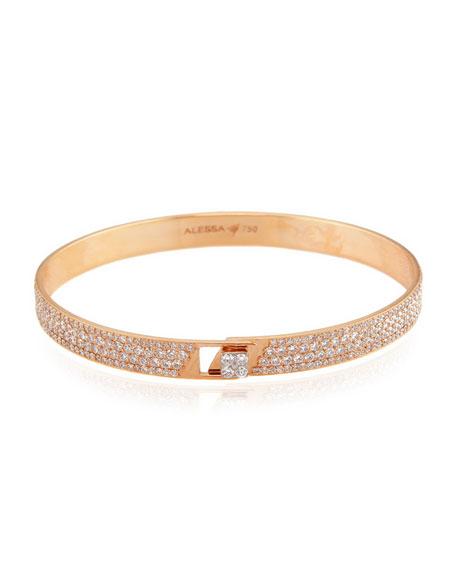 Alessa Jewelry Spectrum 18k Rose Gold Bangle w/ Pave Diamonds, Size 17