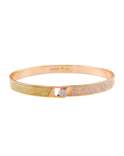 Spectrum 18k Rose Gold Painted Bangle w/ Diamonds, Yellow, Size 17