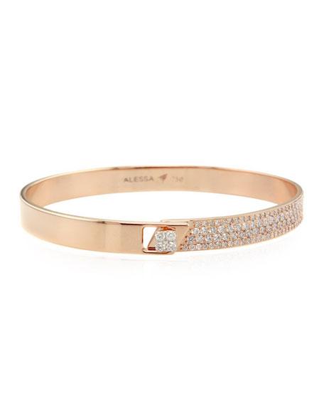 Alessa Jewelry Spectrum 18k Rose Gold Bangle w/ Diamonds, Size 18