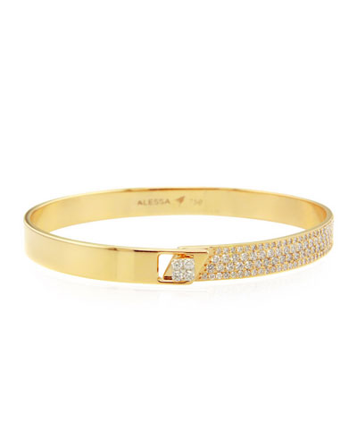 Spectrum 18k Yellow Gold Bangle w/ Diamonds, Size 18