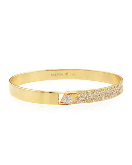 Alessa Jewelry Spectrum 18k Yellow Gold Bangle w/ Diamonds, Size 18