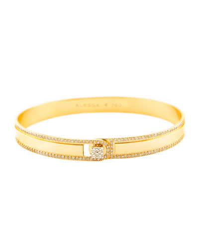 Spectrum Painted 18k Yellow Gold Bangle w/ Diamonds, Yellow, Size 17