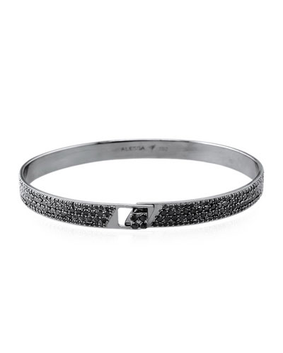 Spectrum 18k Black Gold Bangle w/ Pave Black Diamonds, Size 18