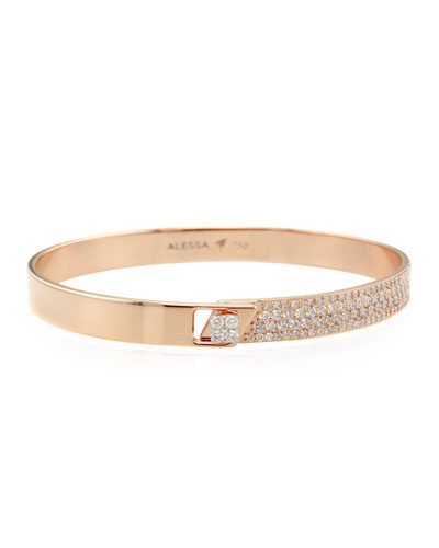 Spectrum 18k Rose Gold Bangle w/ Diamonds, Size 17