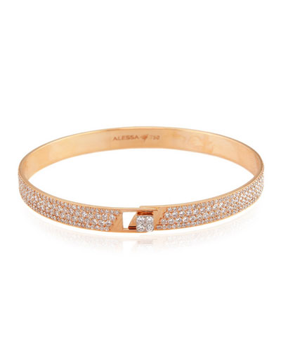 Spectrum 18k Rose Gold Bangle w/ Pave Diamonds, Size 18