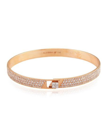 Alessa Jewelry Spectrum 18k Rose Gold Bangle w/ Pave Diamonds, Size 18