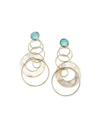 18K Polished Rock Candy Large Slice & Link Earrings in Turquoise and ...