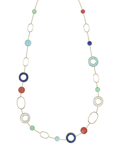 18K Polished Rock Candy Mixed-Link & Slice Necklace in Riviera Sky