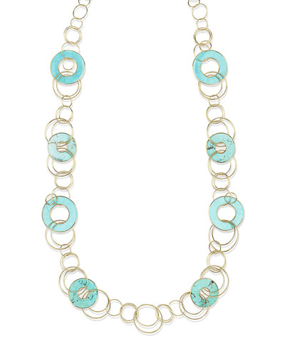 18K Polished Rock Candy Mixed-Link & Slice Necklace in Turquoise, 44