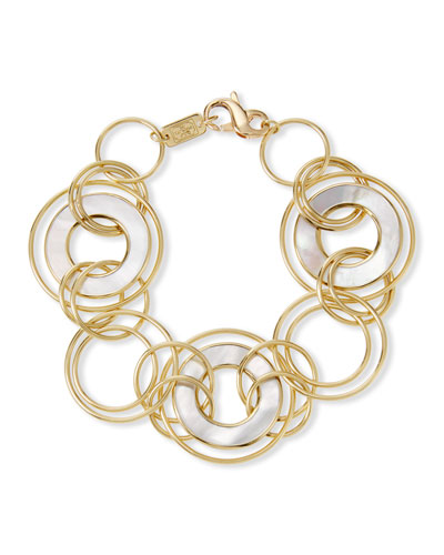 Polished Rock Candy Donut-Link Bracelet in 18K Gold w/ Mother-of-Pear