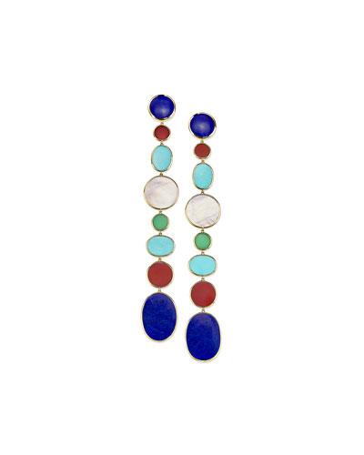 18K Polished Rock Candy Extra-Long Linear Earrings in Riviera Sky