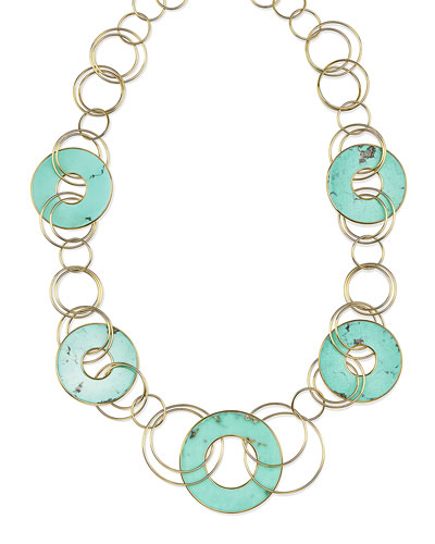 18K Polished Rock Candy Mixed-Link & Slice Necklace in Turquoise