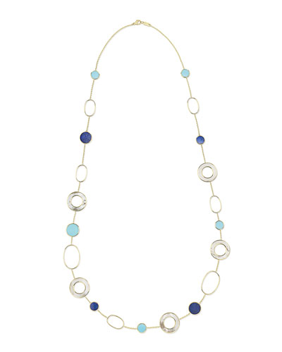 18K Polished Rock Candy Mixed Link & Slice Necklace in Viareggio