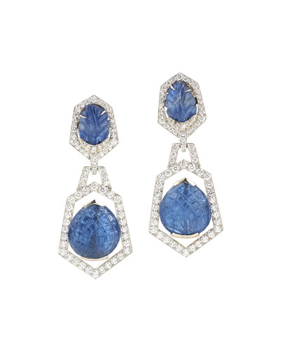 f6982a79dfc Quick Look. David Webb · 18k White Gold Diamond   Carved Blue Sapphire Clip  Earrings