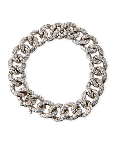 18k White Gold Diamond Curb-Link Bracelet