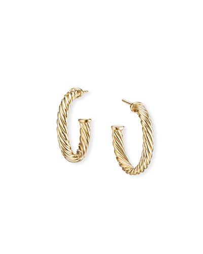 18k Cablespira Hoop Earrings, 0.75
