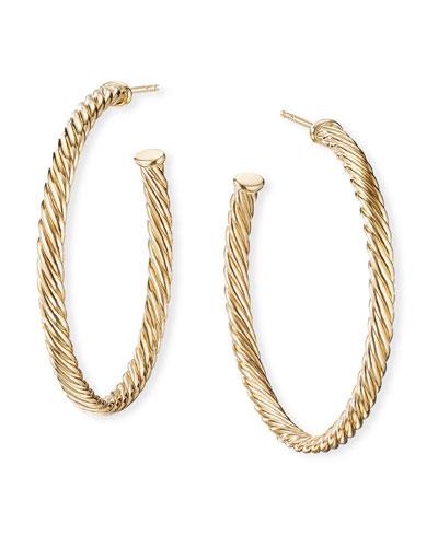 18k Cablespira Hoop Earrings, 1.5
