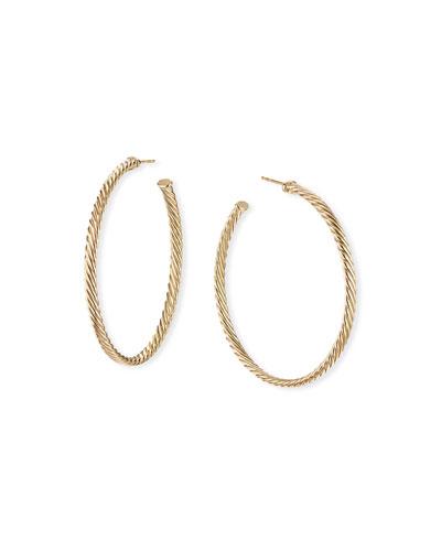 18k Cablespira Hoop Earrings, 2