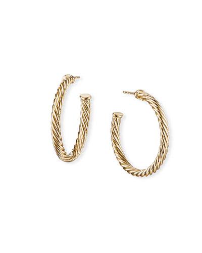 18k Cablespira Hoop Earrings, 1