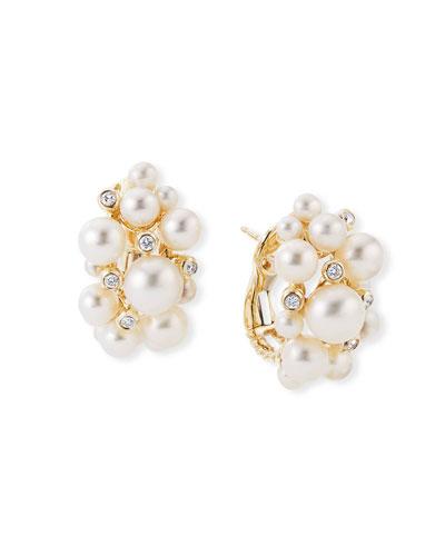 18k Gold Pearl Cluster Hoop Earrings with Diamonds