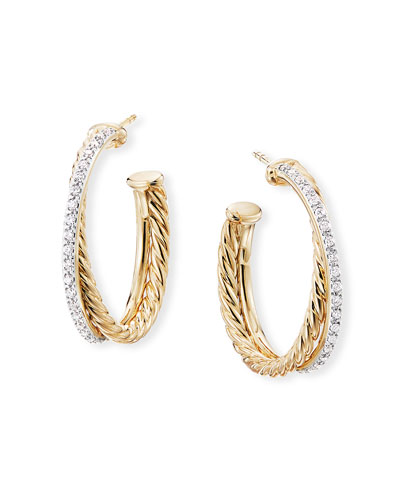 DY Crossover Medium Gold Hoop Earrings w/ Diamonds