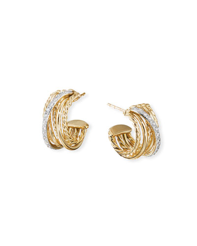 DY Crossover 18k Gold Hoop Earrings w/ Diamonds
