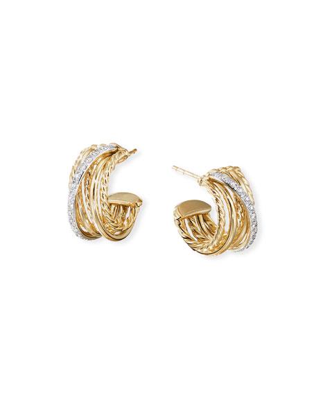 David Yurman DY Crossover 18k Gold Hoop Earrings w/ Diamonds