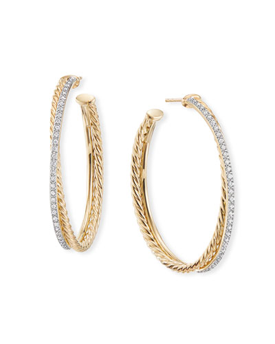 DY Crossover Extra-Large Gold Hoop Earrings w/ Diamonds