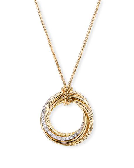 David Yurman Crossover 18k Diamond Ring Pendant Necklace
