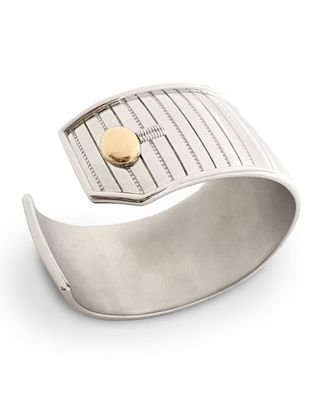Monica Rich Kosann Sterling Silver & 18K Yellow Gold Pinstripe Cuff Bracelet