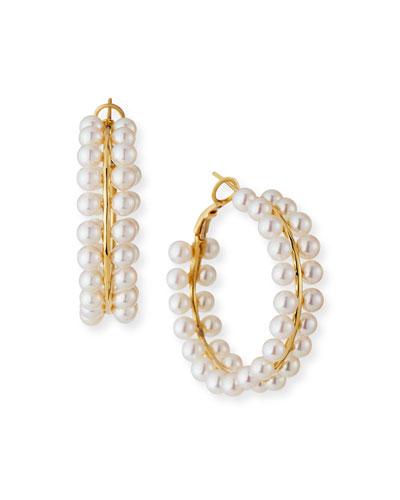 18k Akoya Pearl Hoop Earrings, White