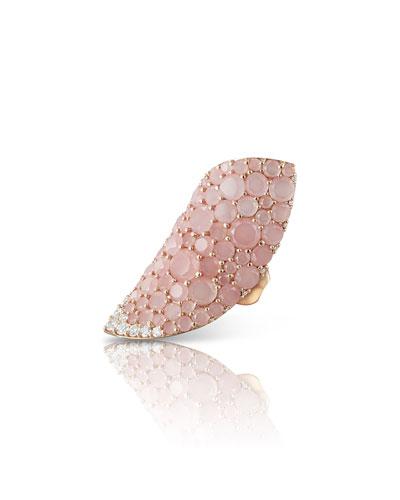 18k Rose Gold Lakshmi Chalcedony & Diamond Ring, Size 6.5-7