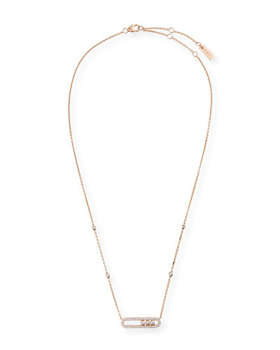 Baby Move Diamond Pave Necklace, Pink Gold