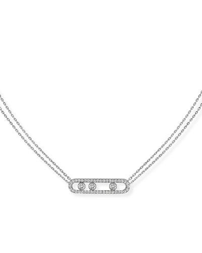 Move Diamond Pave Necklace, White Gold