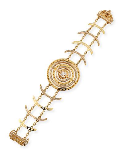 18k Diamond Circle & Curved Bar Bracelet