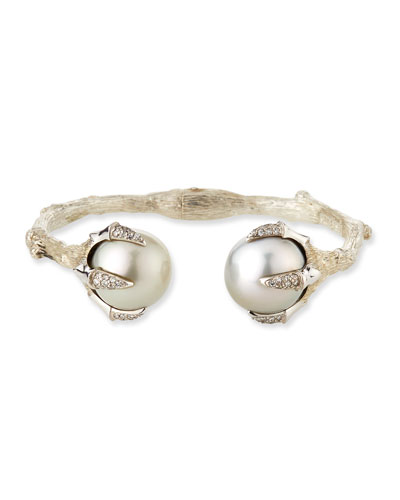 Pearl Bangle w/ Diamond Pave Claws