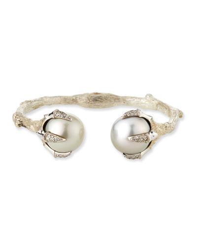 Pearl Bangle w/ Diamond Pave Claws