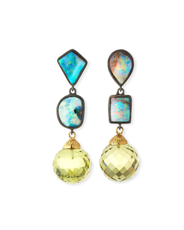 Mismatched Opal & Lime Quartz Drop Earrings