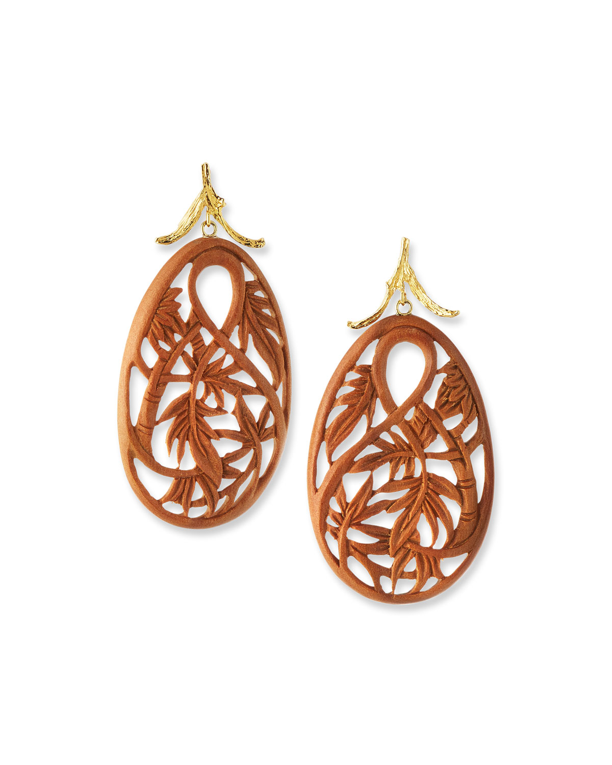 18k Yellow Gold Carved Bamboo Earrings