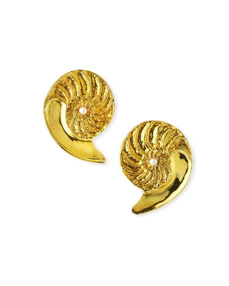 K Brunini Nautilus 18k Pearl Earrings