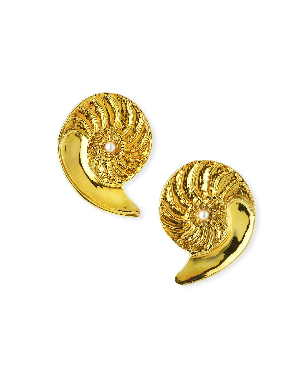 Nautilus 18k Pearl Earrings