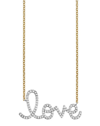14k Diamond Big Love Necklace