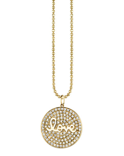 14k Diamond Love Script Medallion Necklace