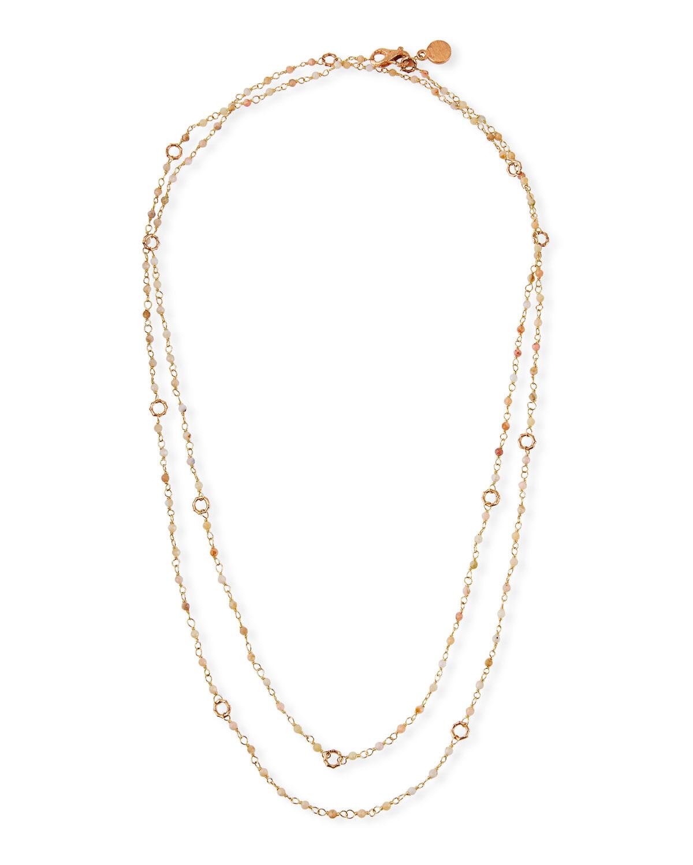 Sloan 18k Rose Gold Pink Opal & Bamboo Link Necklace