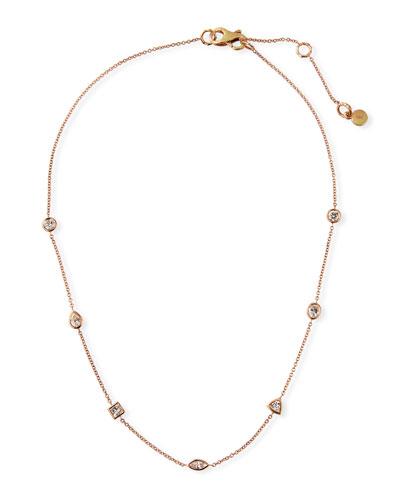 18k Rose Gold Mixed Diamond Choker Necklace