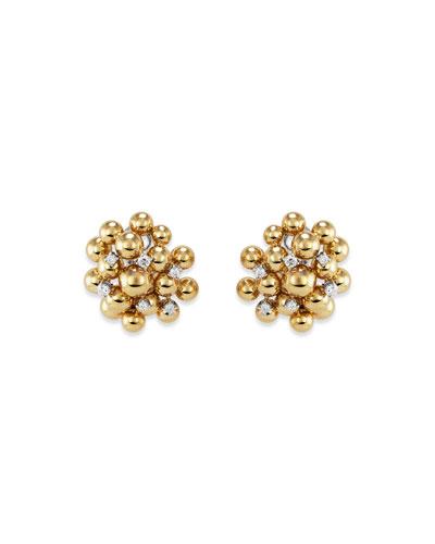 18k Bubble & Diamond Stud Earrings