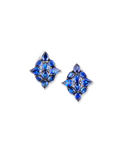 18k White Gold Sapphire Leaf Earrings